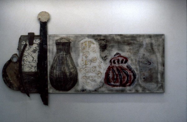 Still Life with Vases,Pots, Bottles & Found Material