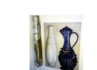 Still Life with Blue Jug, White & Corrigated Iron Vases