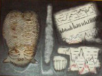 Still Life with Bamileke Mask,Bottle,Glass & Financials
